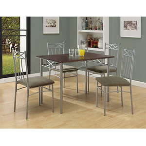 (Scratch & Dent) Monarch Specialties Outlet 5-Piece Dining Set, Cappuccino/Silver