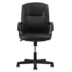 Sharpline Leather Mid-Back Chair With Arms, Black