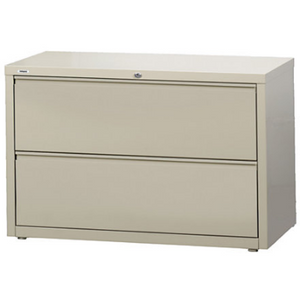 "(Scratch & Dent) WorkPro Steel Lateral File, 2-Drawer, 28""H x 42""W x 18 5/8""D, Putty, 370154"