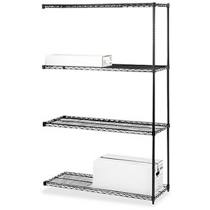 "Lorell Outlet 4-Tier Industrial Wire Shelving, Add-On Unit, 72""H x 36""W x 18""D, Black, 968094, LLR69147"