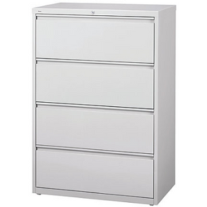 "(Scratch & Dent) WorkPro Outlet Steel Lateral File, 4-Drawer, 40 1/4""H x 36""W x 18 5/8""D, Light Gray"