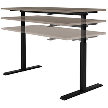 (Scratch & Dent) Realspace Outlet Magellan Pneumatic Sit-Stand Height-Adjustable Desk, Gray