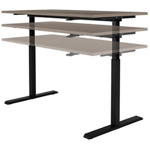 "Realspace Outlet Magellan 60""W Pneumatic Sit-Stand Height-Adjustable Desk, Gray"