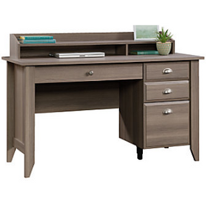 "Sauder Outlet Shoal Creek Collection Transitional Wood Desk With Organizer Hutch, 36 1/4""H x 53 1/8""W x 23 1/2""D, Diamond Ash, 772253, 418657"