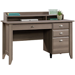 (Scratch & Dent) Sauder Outlet Shoal Creek Collection Transitional Wood Desk With Organizer Hutch, 36 1/4