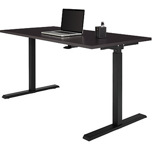 "Realspace Outlet Magellan 60""W Pneumatic Height-Adjustable Standing Desk, Espresso"