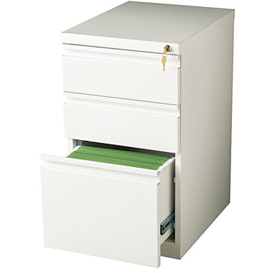 WorkPro Outlet Metal Letter-Size Vertical Mobile Pedestal File, 3-Drawer, 27 3/4