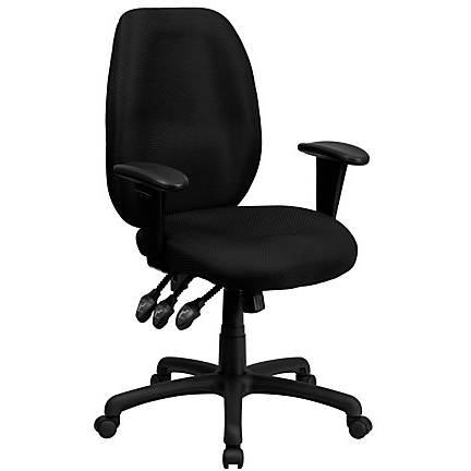 Flash Furniture Outlet Fabric High-Back Multifunctional Swivel Chair, Black, 355676, BT-6191H-BK-GG