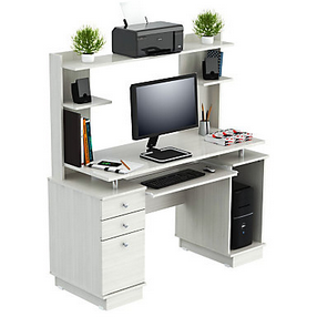 Inval Outlet Computer Work Center With Hutch, 53 3/10