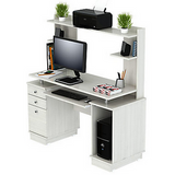 "Inval Outlet Computer Work Center With Hutch, 53 3/10""H x 49 4/5""W x 18 1/2""D, Laricina White"