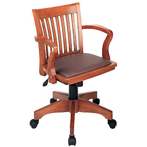 "OSP Outlet Designs Deluxe Bankers Chair, 37""H x 23 3/4""W x 22 3/4""D, Brown/Fruitwood , 1836388, 108FW-1"