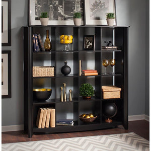"Bush Outlet Aero Bookcase/Room Divider, 16-Shelves, 60""H x 60""W x 18""D, Classic Black"