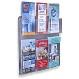 "Azar Outlet Displays Wall-Mount Brochure Holders, 6 Pockets, 15"" x 16 1/2"", Pack Of 2"