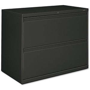 "(Scratch and Dent) HON 800-Series Lateral File With Lock, 2 Drawers, 28""H x 36""W x 19 1/4""D, Charcoal"