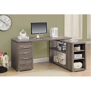 "Monarch Specialties Outlet Left/Right-Facing Corner Desk, 30""H x 60""W x 47""D, Dark Taupe"