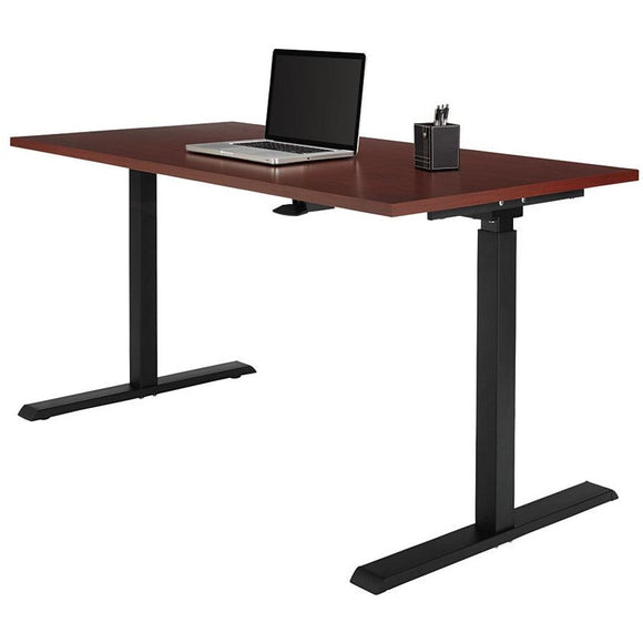 Realspace Outlet Magellan Pneumatic Sit-Stand Height-Adjustable Desk, Classic Cherry