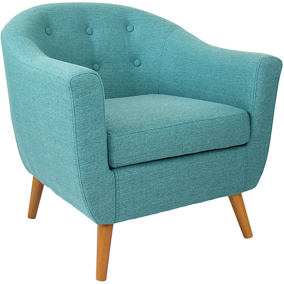 Lumisource Outlet Accent Chair, Rockwell, Teal/Brown