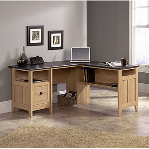 "Sauder Outlet L-Shaped Desk W: 59"", D: 58 3/4"", H: 29 1/4"" , Dover Oak finish"