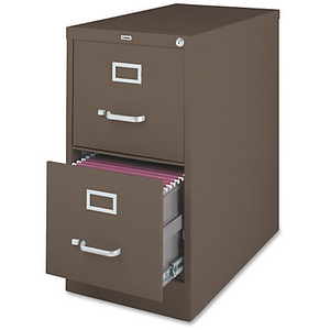 "(Scratch & Dent) Lorell Fortress Series 26.5'' Letter-size Vertical Files - 15"" x 26.5"" x 28.4"" - 2 x Drawer(s) for File - Letter - Vertical - Label Holder, Drawer Extension, Ball-bearing Suspension, Heavy Duty, Security Lock - Medium Tone - Steel"