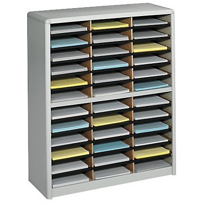 Safco Outlet Value Sorter Steel Corrugated Literature Organizer, 36 Compartments, Gray