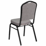 HERCULES Series New Crown Back Stacking Banquet Chair in Gray Fabric - Black Frame