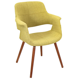 Lumisource Outlet  Vintage Flair Chair, Green/Walnut