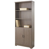 Realspace Outlet Magellan Collection 5-Shelf Bookcase With Doors, Gray