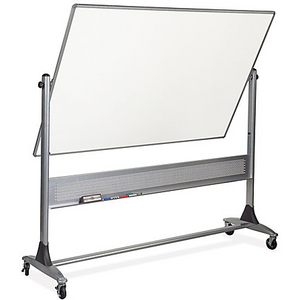 "(Scratch & Dent) Best-Rite Dura-Rite Reversible Dry-Erase Board, Porcelain, 48"" x 72"", White, Silver Frame"