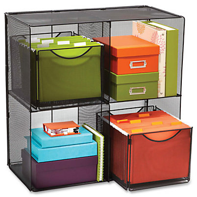 Safco Outlet Onyx Mesh Cube - 4 Compartment(s) - Compartment Size 14