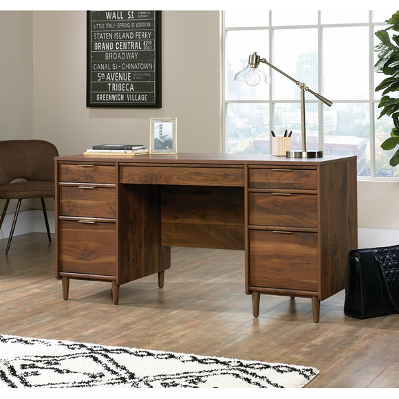 (Scratch & Dent) Sauder Clifford Place Mid-Century Executive Desk, Walnut