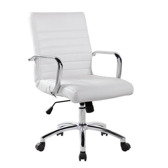 RealBiz Modern Comfort Series Mid-Back LeatherPro Chair, White