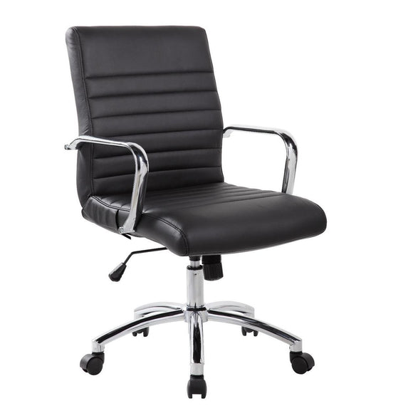 RealBiz Modern Comfort Series Mid-Back LeatherPro Chair, Jet Black