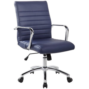 RealBiz Modern Comfort Series Mid-Back Bonded Leather Chair, Midnight Blue