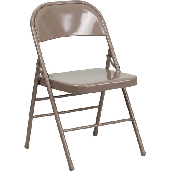Samson Series Triple Braced & Double Hinged Beige Metal Folding Chair
