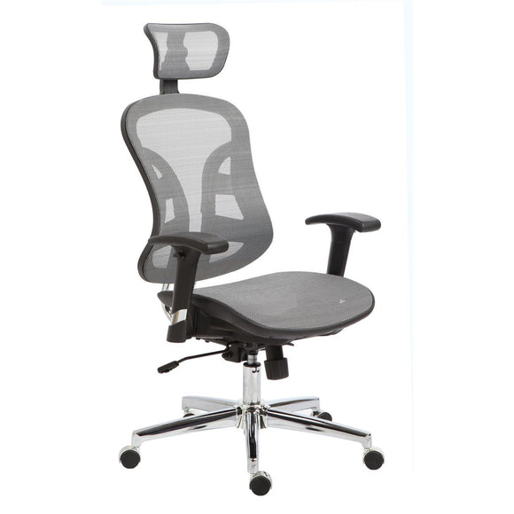 The Exeter High-Back Ultra Ergonomic Silver Mesh Chair with Headrest, 49-1/2