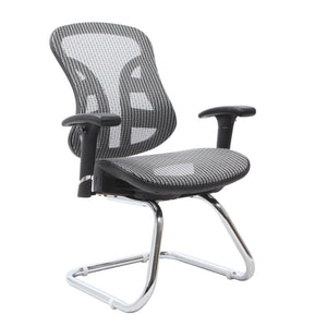 "The Exeter Ergonomic Executive Mesh Guest Side Chair, 39""H x 24.5""W x 26""D, Silver, Item # 721-01-241"