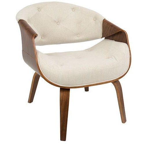 West Side Mid-Century Modern Guest Reception Chairs, Fabric Upholstery, Walnut Wood Frame