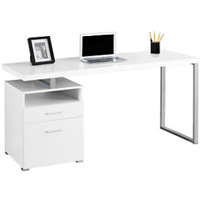 Monarch Specialties Contemporary Computer Desk With 2-Drawers And Open Shelf, Silver/White Item # 631409