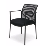 Sharpline Mesh Stacking Visitor Chair with Arms, Black