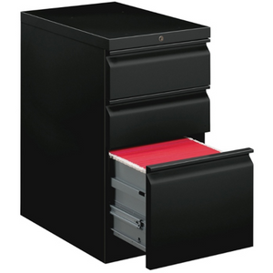 "(Scratch & Dent) basyx by HON Mobile Pedestal Vertical Filing Cabinet, 3 Drawers, 28""H x 15""W x 20""D, Black Item # 108948"
