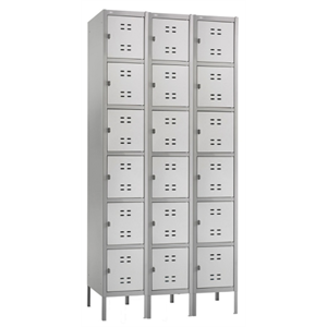 "(Scratch & Dent) Safco Six-Tier Two-Tone 3-Column Locker With Legs, 78""H x 36""W x 18""D, Gray"