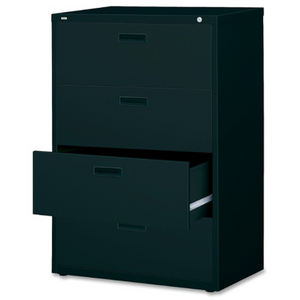 "Lorell Lateral File, 4 Drawers, 52 1/2""H x 30""W x 18 5/8""D, Black Item # 271302"