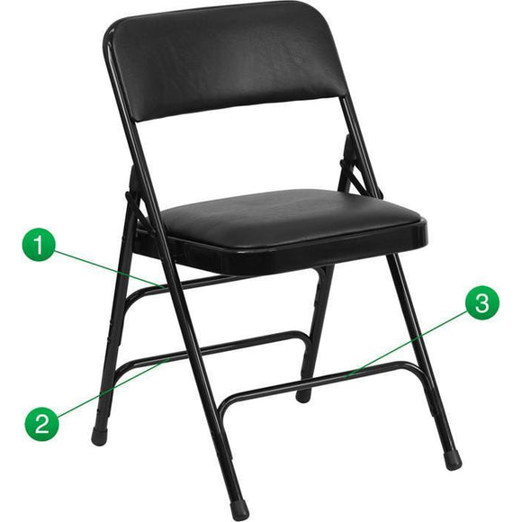 HERCULES Series Curved Triple Braced & Quad Hinged Black Vinyl Upholstered Metal Folding Chair