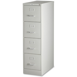 "(Scratch & Dent) Lorell Deep Vertical File With Lock, 4 Drawers, 52""H x 15""W x 25""D, Light Gray Item # 685390"