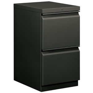 "(Scratch & Dent) HON Brigade 2-Drawer Mobile Pedestal, 28""H x 15""W x 19 7/8""D, ""R"" Pull, Charcoal Item # 309749"
