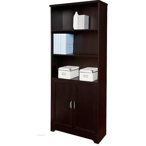 "Realspace Outlet Magellan 72""H 5-Shelf Bookcase With Doors, Espresso"