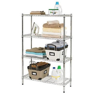 "GHL Wire Shelving, 4 Shelves, 54""H x 36""W x 14""D, Chrome"