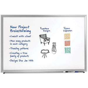 "(Scratch & Dent) FORAY Outlet Aluminum-Framed Dry-Erase Board With Marker, 48"" x 72"", White Board, Silver Frame"