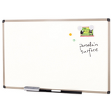"(Scratch & Dent) FORAY Porcelain Magnetic Dry-Erase Board, 48"" x 36"", White Board, Aluminum Frame With Gray Plastic Corners Item # 683127"