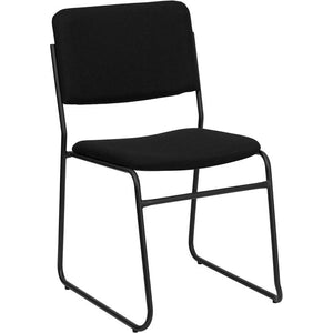 Black Fabric High Density Stacking chair with Black sled base